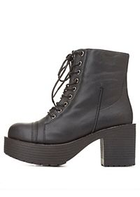 Chunky Lug Sole Platform Lace-Up Booties