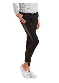 Faux Leather Trim Jogger Pants