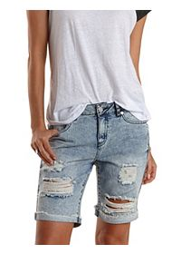 "Refuge ""Bermuda"" Destroyed Denim Shorts"