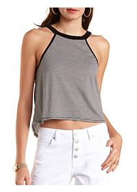 Racer Front Striped Swing Crop Top