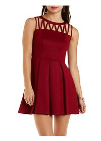 Pleated Strappy Skater Dress