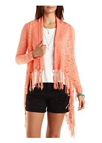 Fringed Pointelle Cascade Cardigan