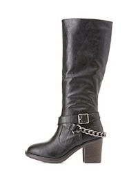 Belted Chain Harness Riding Boots