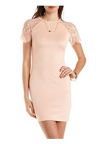 Bodycon Scuba Dress with Lace Sleeves