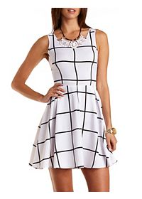 Windowpane Checked Skater Dress