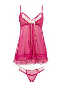 Two-Toned Mesh Chemise & Thong Set