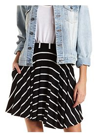 Striped Skater Skirt with Pockets