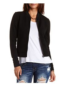 Quilted Chevron Bomber Jacket