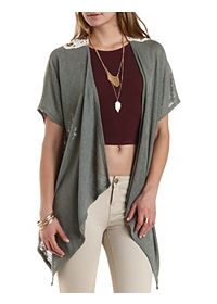 Crochet-Back Sweater Knit Kimono Cardigan