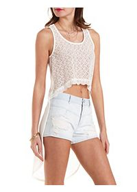 Lace & Knit High-Low Tank Top