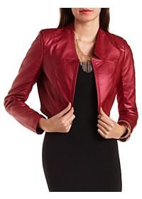 Shimmer Faux Leather Bolero Jacket