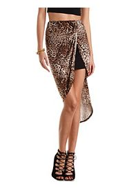 Leopard Print Knotted High-Low Skirt