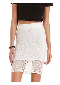 Medallion Lace Pencil Skirt