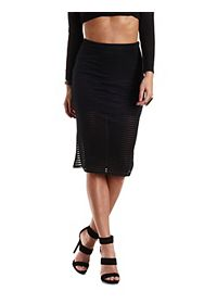 Sheer-Striped Bodycon Midi Skirt