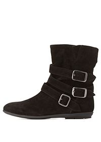 Qupid Triple-Belted Slouchy Ankle Boots