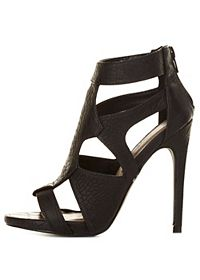Crocodile Cut-Out Caged Heels