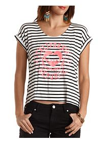 California Graphic Striped Boxy Tee