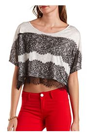 Wide-Cut Lace-Striped Crop Top