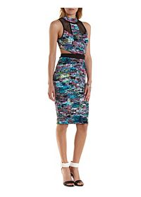 Cut-Out Abstract Print Bodycon Dress