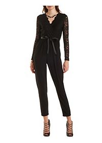 Lace Bodice Long Sleeve Jumpsuit