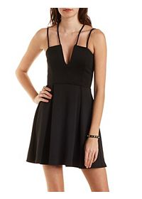 Strappy Plunging Skater Dress