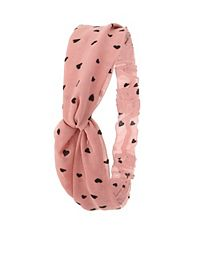 Heart Print Knotted Head Wrap