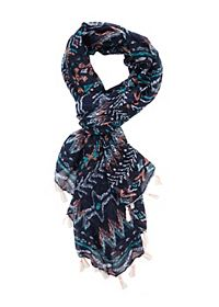Tassel-Trim Tribal Print Wrap Scarf