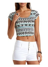 Geometric Print Crop Top with Caged Back