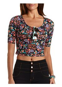Paisley Crop Tee with Three-Quarter Sleeves