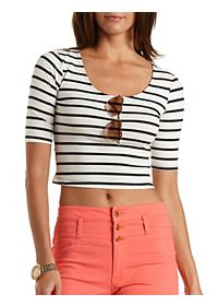 Striped Crop Tee with Three-Quarter Sleeves