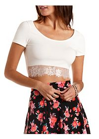 Lace-Trim Cotton Crop Top