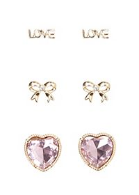 Heart & Love Stud Earrings - 3 Pack