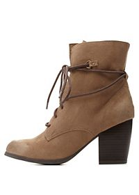 Qupid Lace-Up Chunky Heel Combat Boots