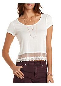 Lace-Trim Cropped Tee