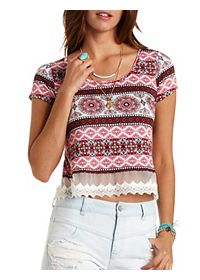 Lace-Trim Paisley Cropped Tee