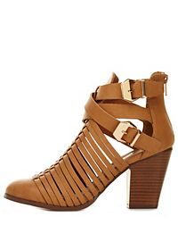 Strappy Belted Cut-Out Chunky Heels