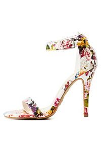 Floral Single Sole Ankle Strap Heels