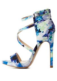 Strappy Floral Print High Heels