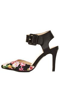 Pointed Floral Print D'Orsay Pumps