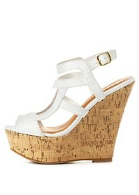 Qupid Caged Strappy Wedge Sandals