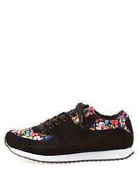 Qupid Floral Lace-Up Sneakers
