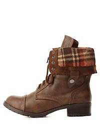 Plaid-Lined Fold-Over Combat Boots