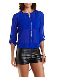 High-Low Buttonless Placket Top