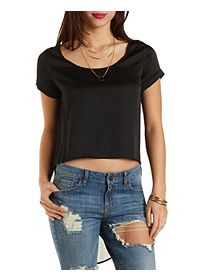High-Low Satin & Chiffon Top