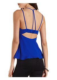 Strappy Flared Chiffon Tank Top