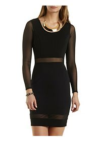 Mesh Cut-Out Long Sleeve Bodycon Dress