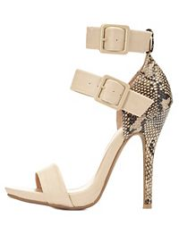 Python Single Sole Ankle Strap Heels