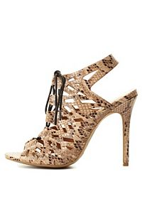 Peep Toe Python Cut-Out Lace-Up Heels