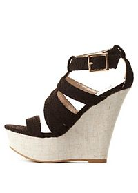 Qupid Textured Strappy Platform Wedges