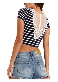Lace-Back Striped Crop Top